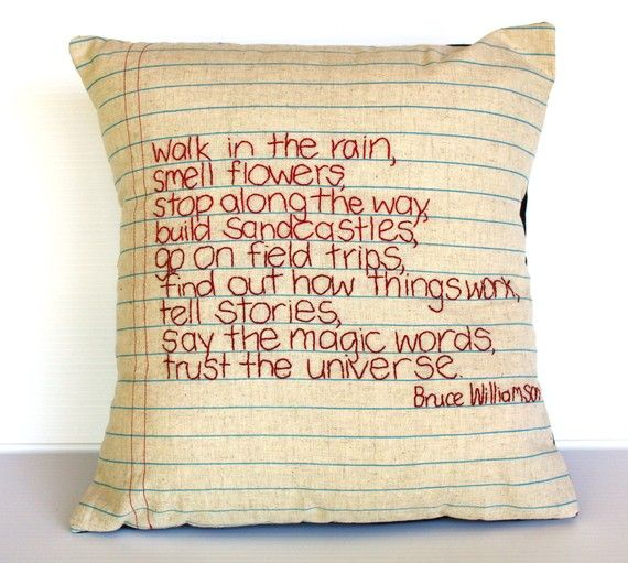 not sure where to pin this....I would like to do some of these pillows for around the house, but love the words too