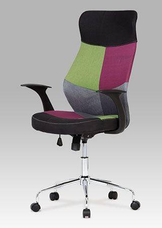 KA-N848 COL Designová kancelářská židle látková, mix barev na přední straně opěráku a sedáku, pochromovaný kříž. Houpací mechanismus. Nosnost 90 kg.