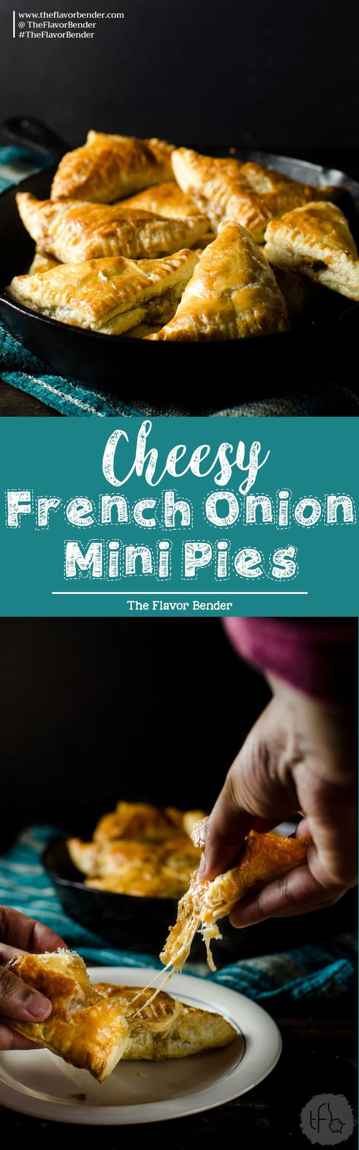 Mini Cheesy French Onion Pies - cozy comfort and robust flavor of French onion soup inside buttery, flaky pockets of puff pastry. Game day food | Appetizers | Puff Pastry | French Onion Soup | Hand Pies | Pies | Vegetarian options | March Madness