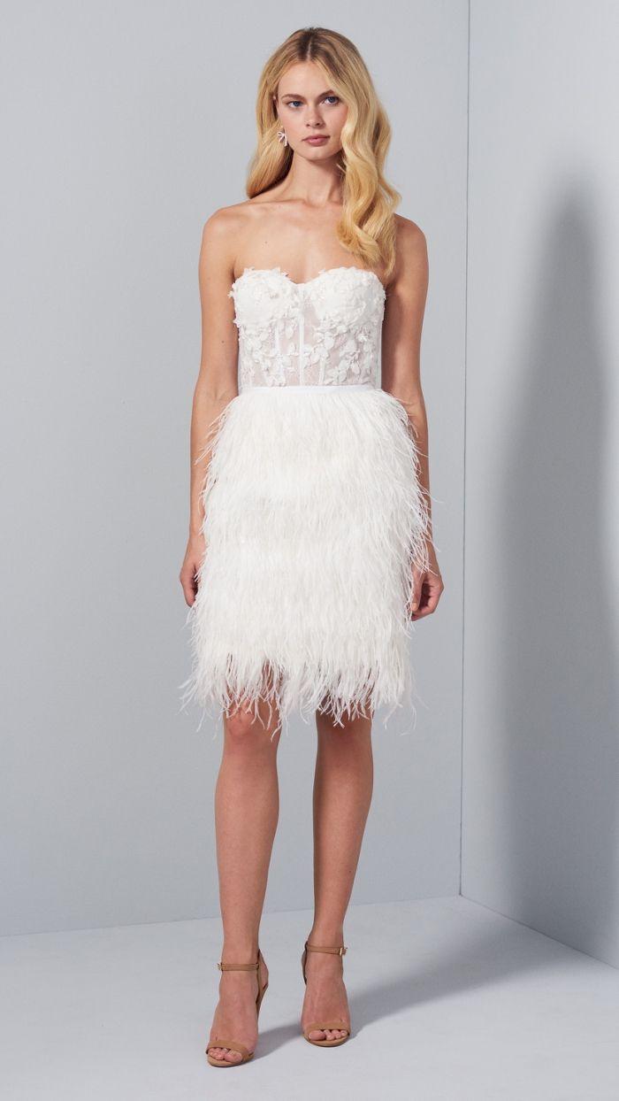 Short White Strapless Bridal Dress With Feather Skirt Wedding Dresses French Lace Wedding Dress Wedding Dress Inspiration [ 1244 x 700 Pixel ]