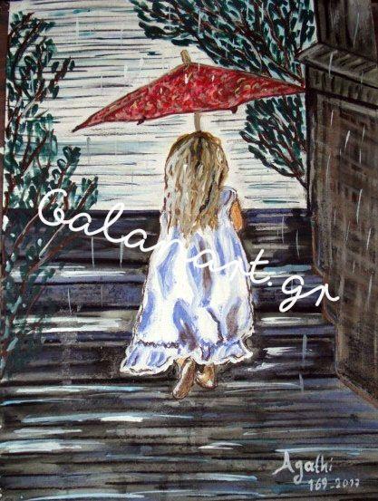 Ζωγραφική με ξηρά παστέλ και ακρυλικό  Διαστάσεις: 40χ50  cm  Τίτλος :Το κορίτσι στην βροχή  Κωδ :169-2017  Αgathi Galan