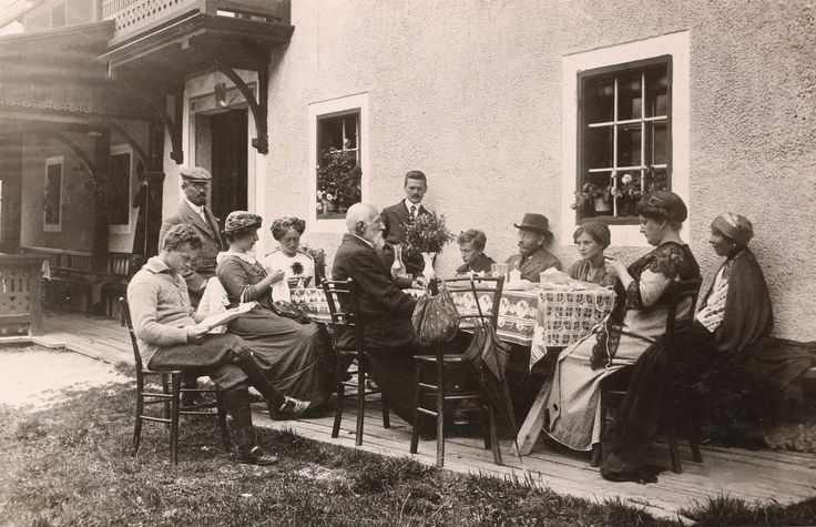 Organic Farm Makek, Slovenia. Photograph showing Czech guests spending their free time at Makek in 1910 http://www.organicholidays.com/at/1652.htm