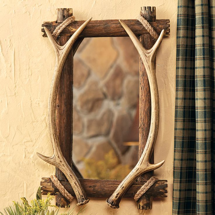 "Faux Antler & Wood Mirror 23"" x 14"""