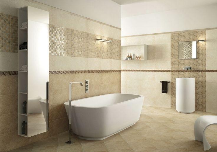 Fliesen Badezimmer Mediterran Beige Sandfarben Badewanne Modern