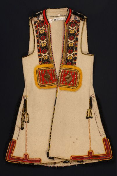 Greece, Macedonia, Florina, sleeveless woollen coat (sagias), felt, gold thread, metal foil, wool thread, saddle blanket wool fringe, beginning of 20th century, front