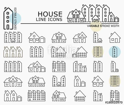 "Download the royalty-free vector ""House line icons with minimal nodes and editable stroke width and style"" designed by dropix at the lowest price on Fotolia.com. Browse our cheap image bank online to find the perfect stock vector for your marketing projects!"
