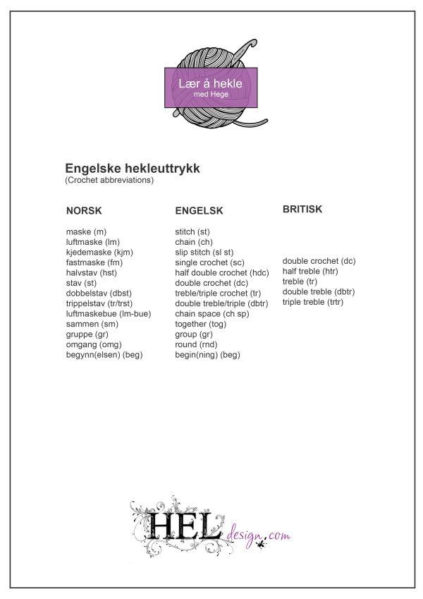HEKLEHJELPEN - Engelske hekleuttrykk