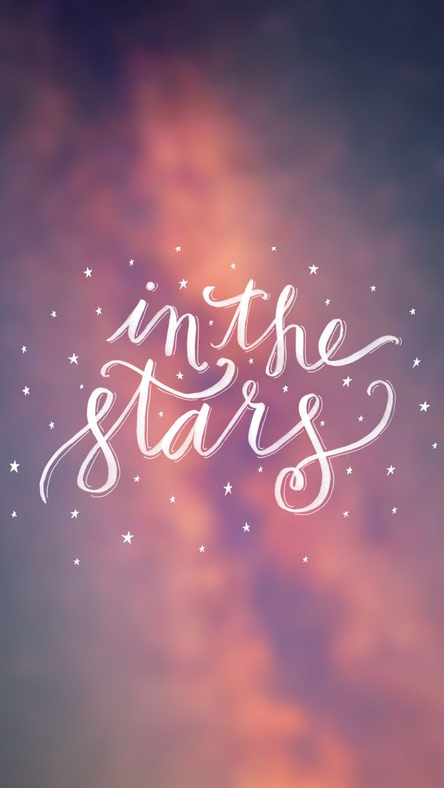 Bokeh calligraphy 'in the stars' iphone wallpaper background phone lockscreen