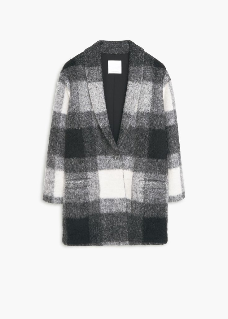 Karierter Mantel aus Woll-Mix