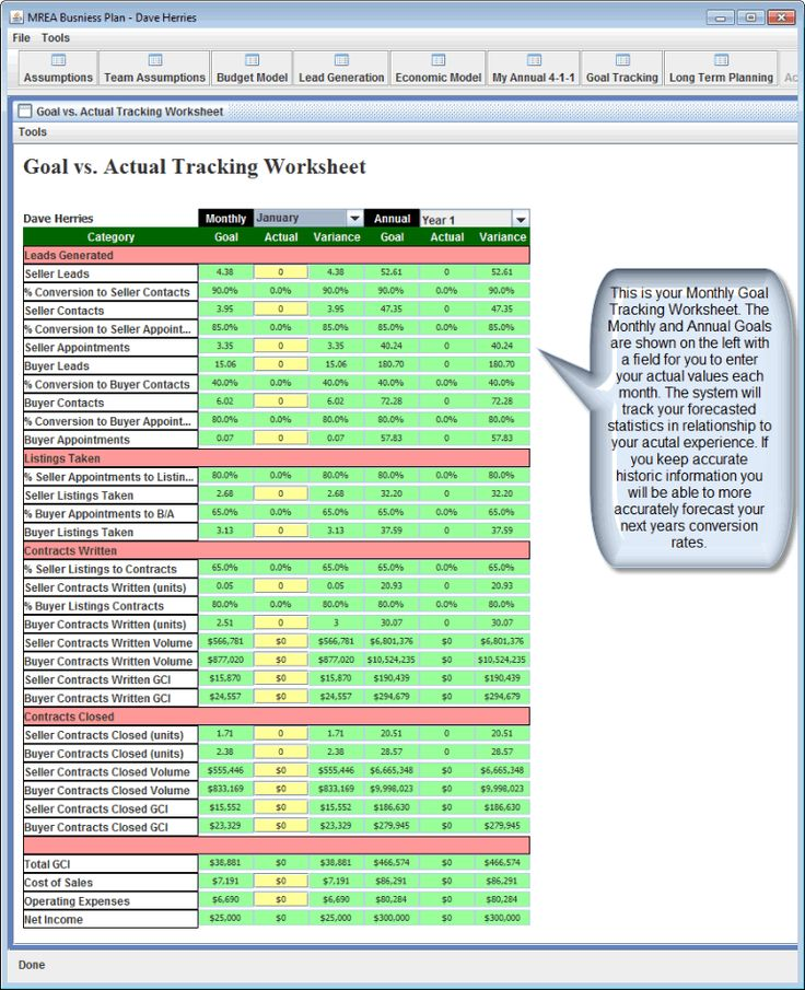 mrea business planning spreadsheet
