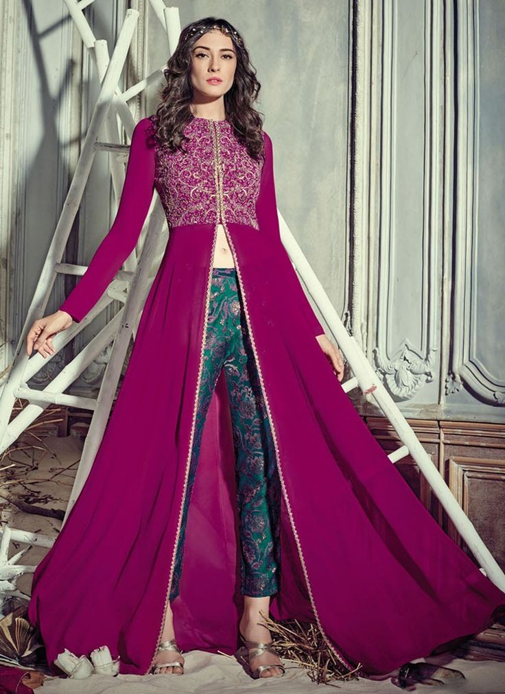Magenta and Teal Pant Style Anarkali