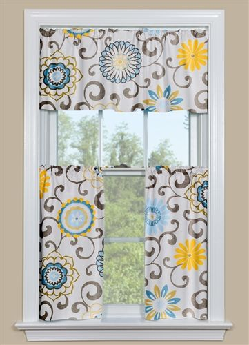 Exceptional One Of Our Most Popular Patterns: Pom Pom Play   Spa. These Floral Kitchen  Curtains Have Grey Scrolls And Blue And Yellow Flowers With A Hint Of Green.