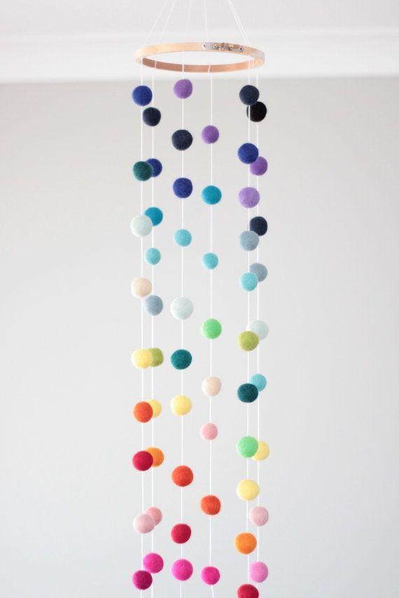 Rainbow felt ball baby mobile - bright, multicoloured baby nursery mobile
