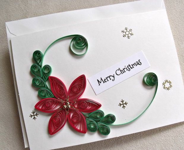 Handmade Paper Quilled Christmas Card Merry Christmas Poinsettia Quilling Christmas Paper Quilling For Beginners Quilling Patterns