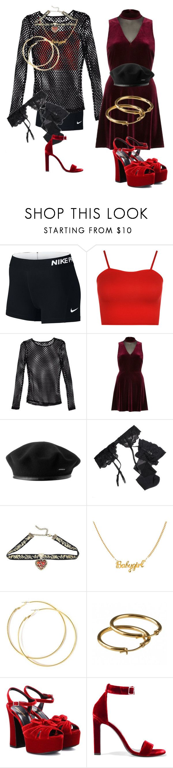 """""""Untitled #5805"""" by aurorazoejadefleurbiancasarah ❤ liked on Polyvore featuring NIKE, WearAll, Nasty Gal, River Island, Reger by Janet Reger, Disney and Yves Saint Laurent"""