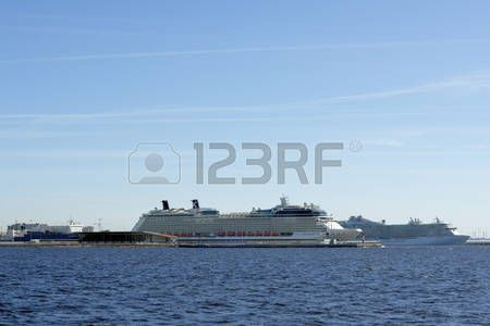 St. Petersburg, Russia - May 7, 2016: Cruise liners and ferry in the port Marine Facade. It is the largest specialized passenger port  in the Baltic region