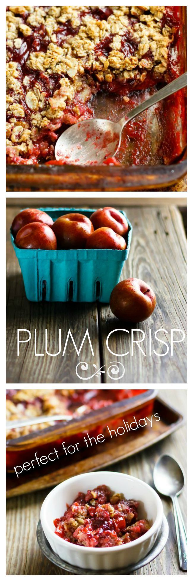 Holiday Perfect Plum Crisp. Make plenty, seconds will be wanted. V, gf, allergy friendly.
