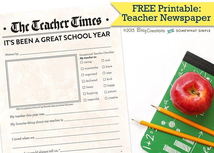 Free Printable Teacher Newspaper by BitsyCreations for Somewhat Simple #freeprintable #teacherappreciation #teachergift