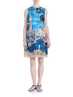 Dolce & Gabbana - Venezia Printed A-Line Dress