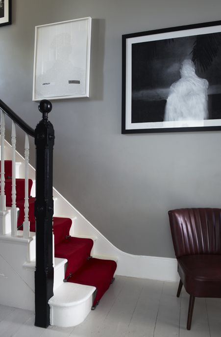 Walls in Farrow & Ball's Hardwick White Estate Emulsion. Woodwork in Pointing and floor in Cornforth White Floor Paint.