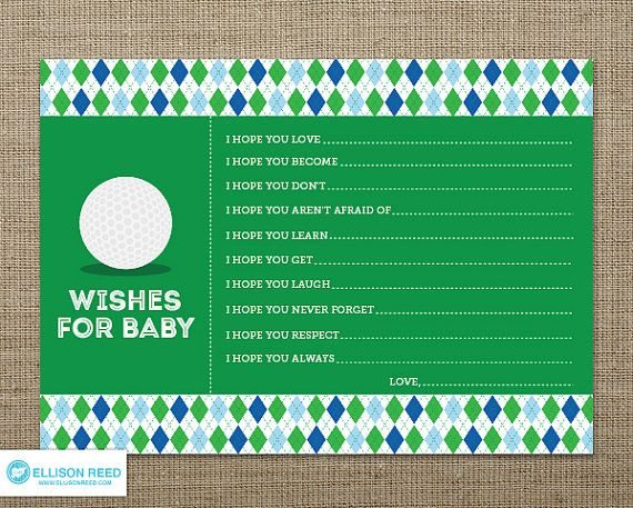 Golf wish card Golf Baby Shower Wish for Baby by EllisonReed, $12.00