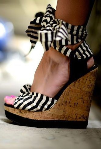 Love the graphic black & white stripe - great twist on a classic wedge sandal