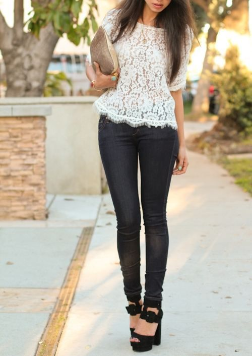 love the lace top with skinnies