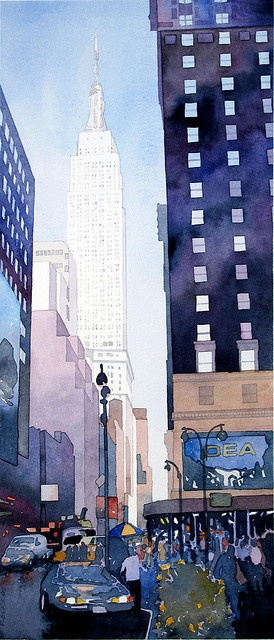 Empire State Building watercolor by Don Gore (dgdraws), via Flickr