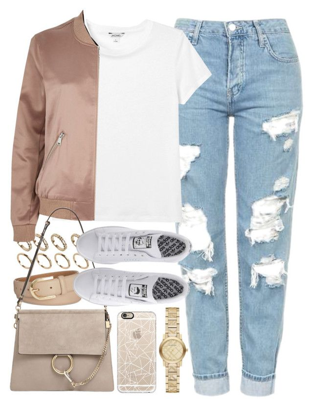 """""""Outfit with mom jeans and a bomber jacket"""" by ferned ❤ liked on Polyvore featuring Casetify, Topshop, Monki, ALDO, Michael Kors, River Island, Chloé, adidas and Burberry"""