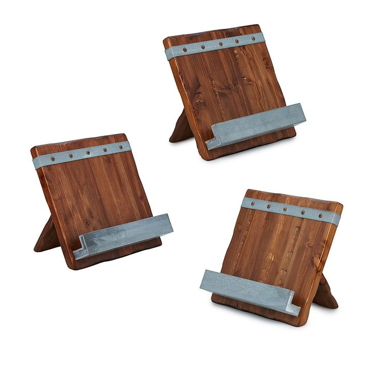 This rustic cookbook stand prevents messy pages and protects touchscreens from spills and smudges.