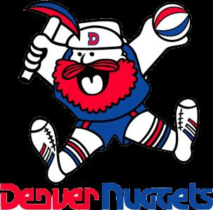 ABA Denver Nuggets Primary Logo (1977) - A miner leaping with a pick axe and a basketball