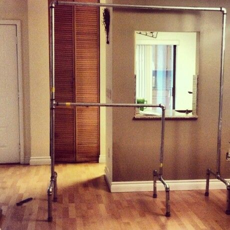 Adjustable Pull Down Closet Rod: Home U0026 Kitchen. 2 Tier Pipe Clothing  Rack