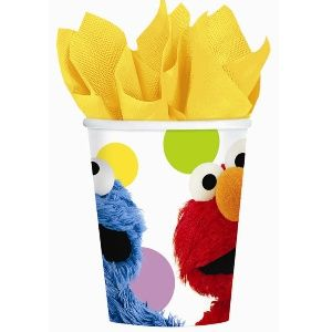 Sesame Street Party Cups.  Elmo and Cookie Monster are the popular Sesame Street characters featured on these 9 ounce paper party cups. There are 8 cups per package. These cups are used in both the Elmo's Party and the Sesame Street Party tableware patterns.