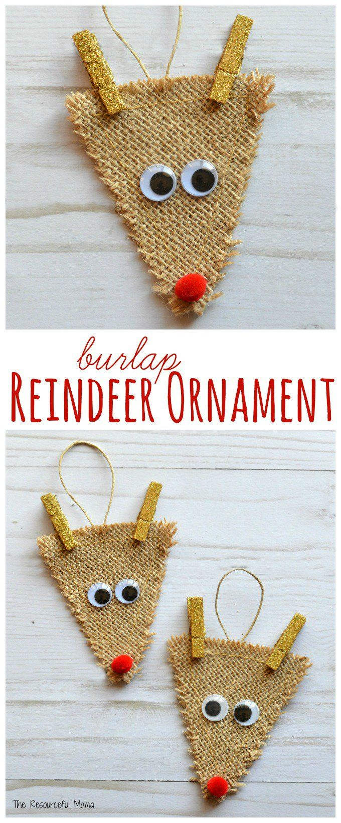 Pinterest Christmas Craft Ideas Part - 31: Burlap Reindeer Ornament. Diy Christmas ...