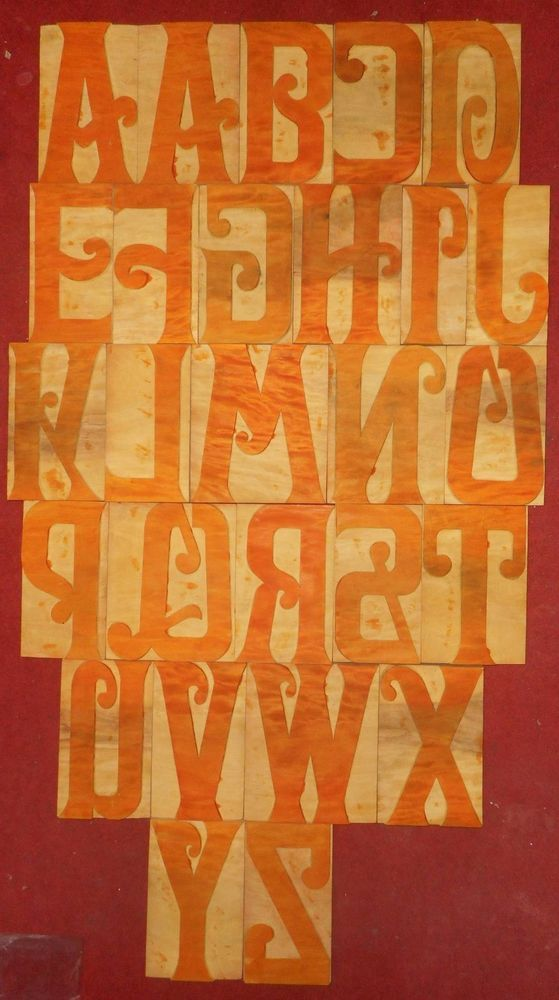 "27 Letterpress Letter Wood Type Printers Block ""A To Z"" ""8 Inches"" S2276"