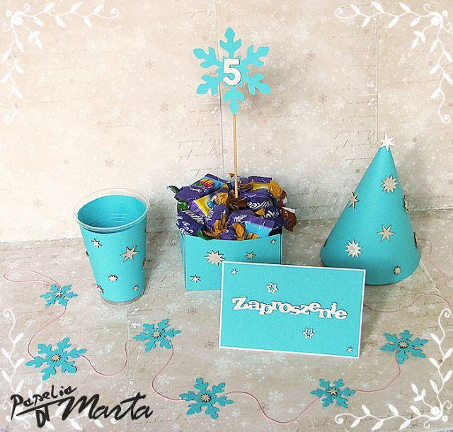 Przyjęcie noworoczno-urodzinowe - zestaw gwiazdkowo-śnieżynkowych dodatków...