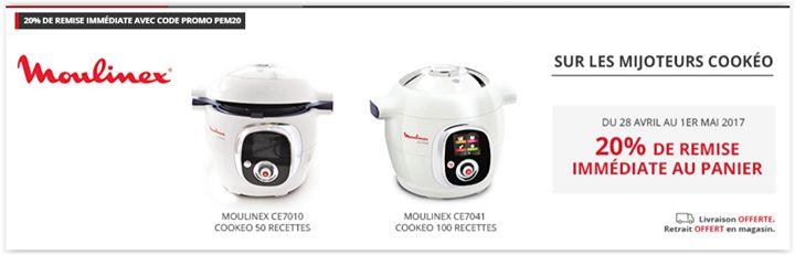 ALERTE Promo ! Moulinex Cookeo 50 recettes moins cher à 143.23  et 100 recettes à 159.23   .  Ainsi vous pouvez obtenir celui avec 50 recettes / 5 modes de cuisson au prix réduit de 143.23  au lieu de 179  ou celui de 100 recettes / 7 modes de cuisson à un tarif de 159.23  au lieu de 199  avec la livraison gratuite à domicile.    A ce prix la  foncez !!   http://ift.tt/2qfqv6K   Partagez la publication ou taguez si vous connaissez des gens qui attendaient une promo  #Darty