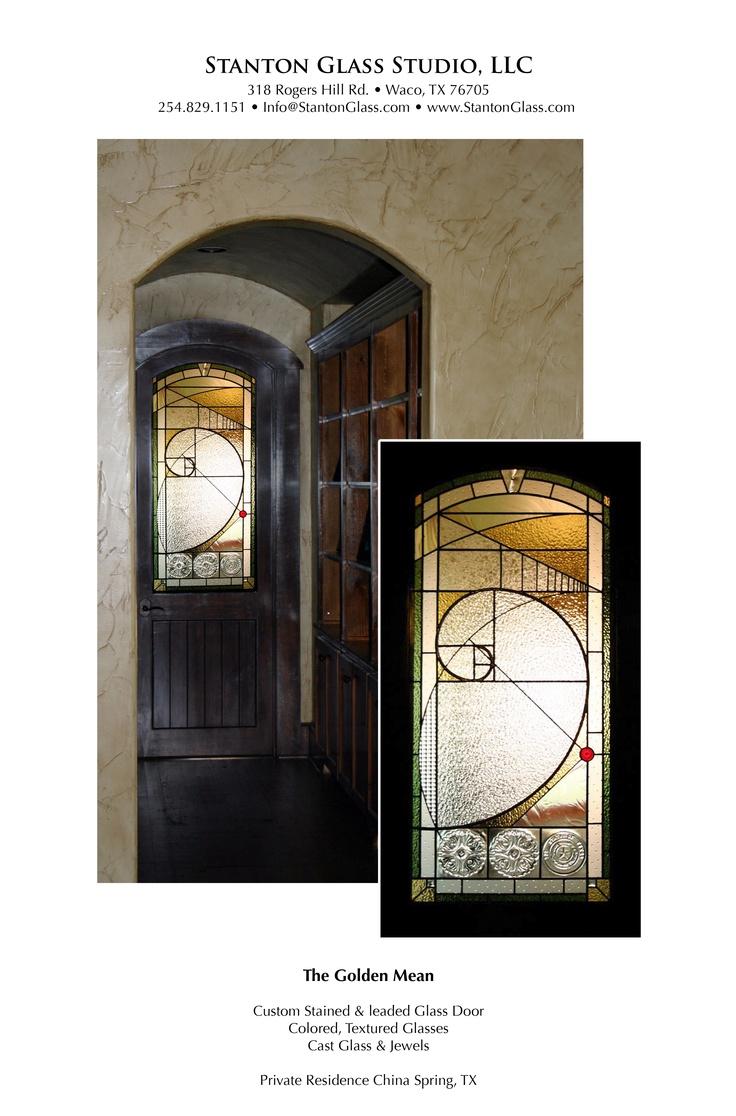 <3 <3 <3   Fibonnaci - The Golden Mean.  Stained Glass Door Panel.