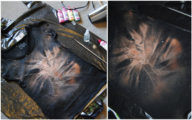 DIY: Galaxy tee. Materials needed:plain black t-shirt  bleach in a spray bottle  fabric paint or acrylic paint in white  an old toothbrush  an old paintbrush  hairdryer  small piece of sponge  gloves (optional)  plastic sheet to protect the carpet  plastic bag for inside your shirt