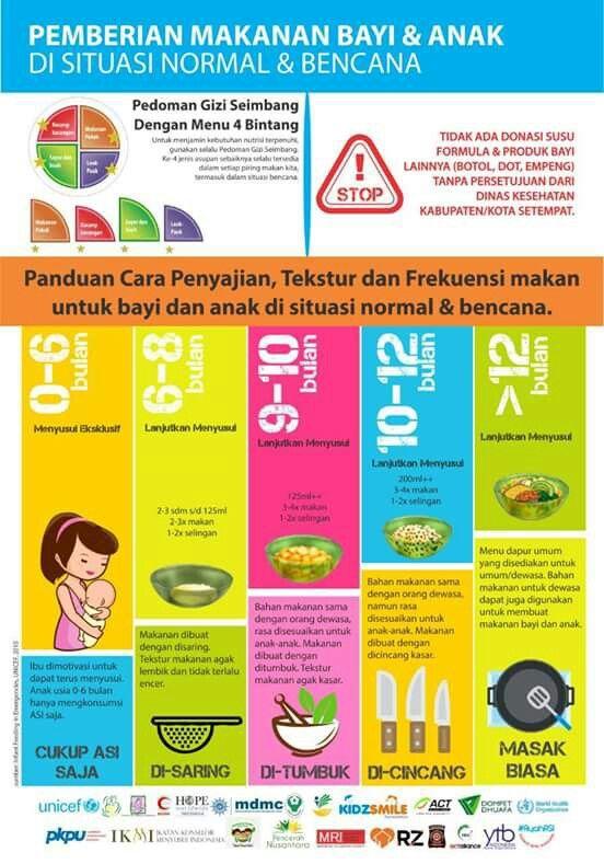 Panduan Makanan Bayi Balita pada situasi normal dan bencana