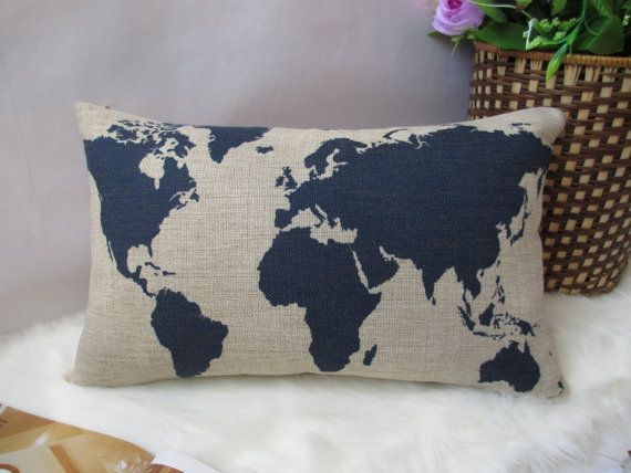 1 cotton linen world map simple  printed by xinghuajiang on Etsy, $16.00 great site for throw pillows