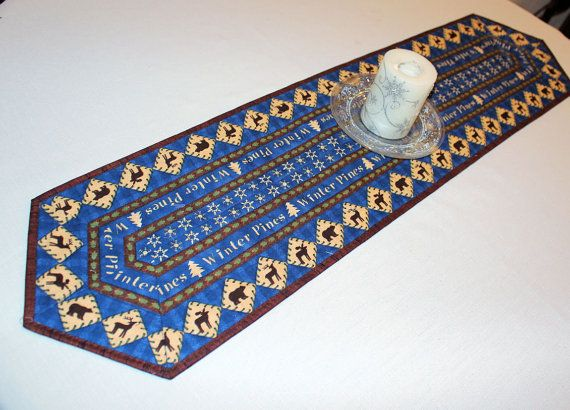 Winter Quilted Table Runner  Blue Ivory Moose by QuiltSewPieceful
