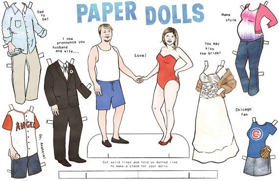 Custom Personalized Couple Paper Dolls Dolls Etsy And Craft