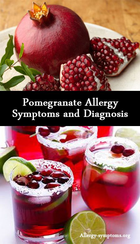 Pomegranate Allergy Symptoms and Diagnosis  Pomegranate is prominent for antioxidant properties that thwart free radicals. Internal and topical use has excellent benefits for health and skin. But, few people may experience pomegranate allergy symptoms after ingesting this fruit.  http://allergy-symptoms.org/pomegranate-allergy/