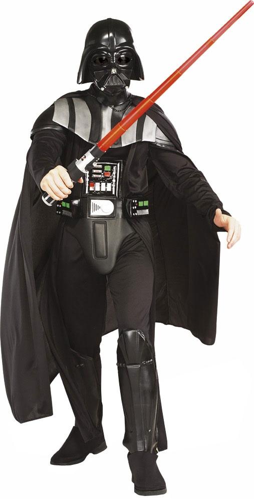Disfraz de Darth Vader Deluxe de la Pelicula Star Wars, incluye la Mascara moldeada por inyección (1 / 2 máscara), capa, cinturón con apliques en EVA y el traje con cuello moldeado EVA, el cubre botas, la pieza del pecho y el Sable de Luz. Este traje de Darth Vader es una licencia oficial de Star Wars y un  auténtico traje de guerra. Tallas Disponibles Talla Standar (34-40) Talla XL(46-48)
