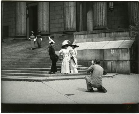 "Unknown artist. ""Bill Cunningham Photographing Models, New York County Court House"", ca.1975. Gelatin silver photograph 11x14 in."