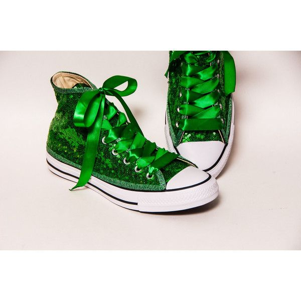 24e5dee75282b5 Tiny Sequin Starlight Kelly Green Canvas Canvas Hi Top Sneakers Shoes...  (180 CAD) ❤ liked on Polyvore featuring shoes