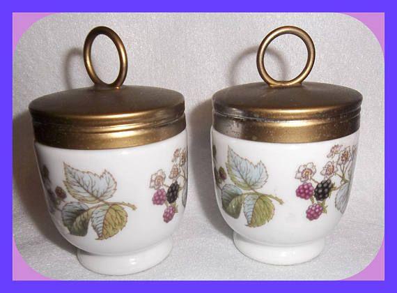 Royal Worcester EGG CODDLERS Pair Type 9 Porcelain Lavinia