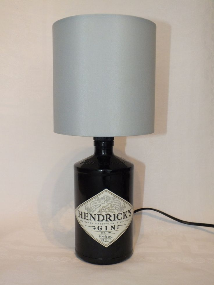 Cool Hendricks Gin Bottle (upcycled) Table Lamp  with choice of Lamp Shade - UK Electrical Plug with on/off switch. by CarlysVintage on Etsy https://www.etsy.com/listing/202865042/cool-hendricks-gin-bottle-upcycled-table