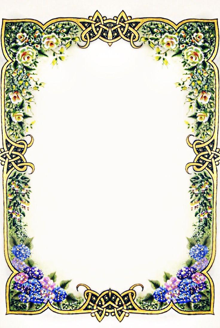 Hand Painted Frame Border Floral Poster Bunga Kartu Bunga Kartu Pernikahan